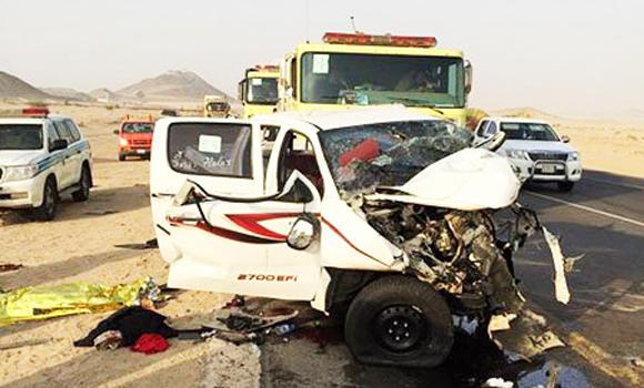 In this picture from Sabq.org, a Hilux vehicle carrying a family of seven is wrecked after a head-on collision with a police car in Makkah on Saturday.