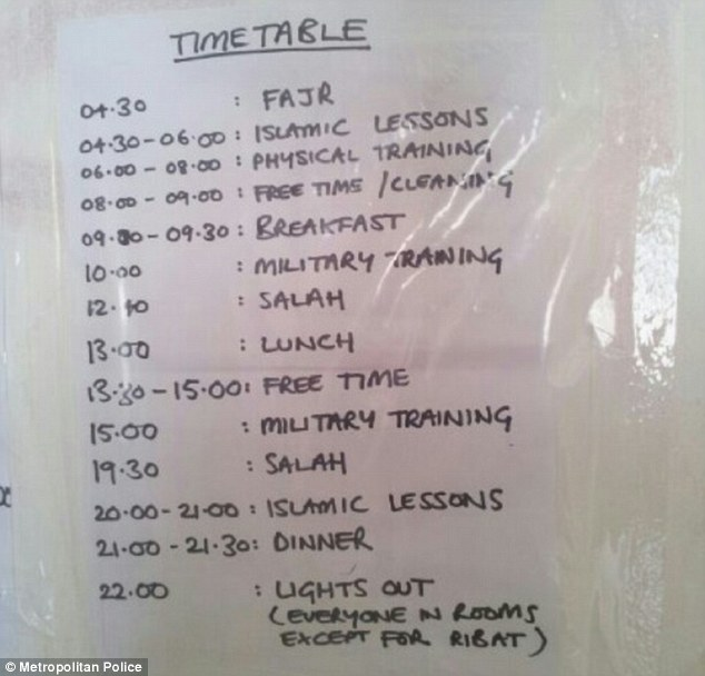 time tabe for training