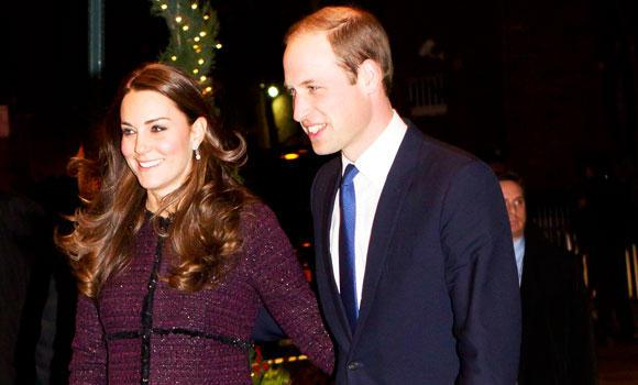 Britain's Prince William and his wife Catherine arrive at the Carlyle hotel in New York, late Sunday.