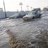 A heavily flooded road in Tabuk is shown in this file picture contributed by Arab News reader Yahya Rajabi during a destructive downpour in the northwestern region on Tuesday.