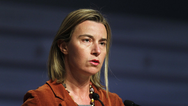 Federica Mogherini speaks during a news conference in Riga Jan. 8, 2015.