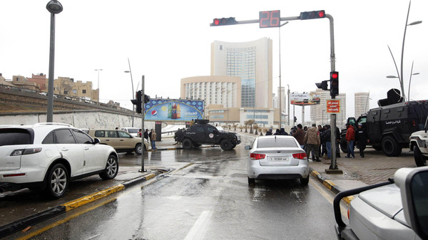 Security forces surround Corinthia hotel after a car bomb in Tripoli Jan. 27, 2015.