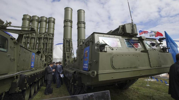 Russian air defense missile systems are displayed at the opening of the MAKS Air Show in Zhukovsky outside Moscow.