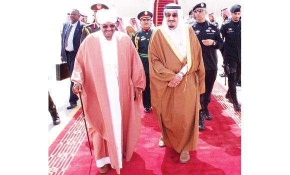 Custodian of the Two Holy Mosques King Salman receives Sudanese President Omar Bashir at the Riyadh airport on Wednesday. (SPA)