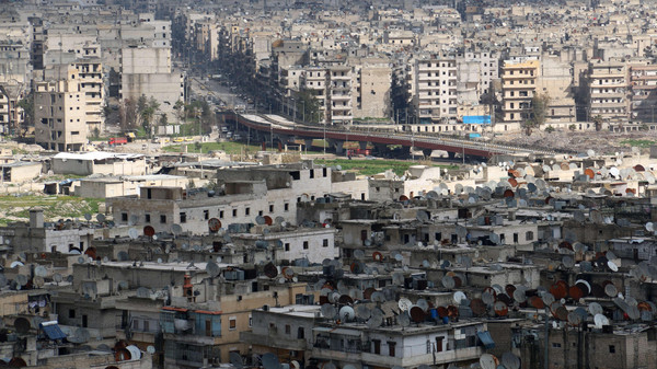A general view taken on March 3, 2015 shows the northern Syrian city of Aleppo. Once Syria's commercial hub, Aleppo has been devastated by fighting that began in mid-2012.