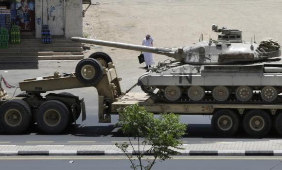 Army tank being transported, in the city of Najran, Saudi Arabia.