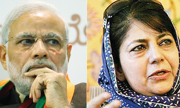 Narendra Modi (L) and Mehbooba Mufti.