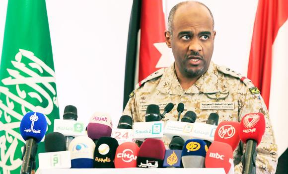 Saudi military spokesman Brig. Gen. Ahmed Al-Asiri briefs journalists on the Saudi-led coalition's strikes on Houthi rebels in Yemen, during a press conference, in Riyadh, Saudi Arabia, in this April 18, 2015 photo.