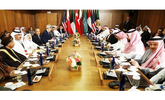 GCC leaders attend a working session with US President Barack Obama and other US officials at Camp David in Maryland on Thursday.