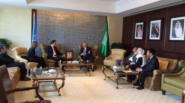 Khaled Khoja, the president of the Syrian National Coalition opposition group (3rd from left) meeting with Saudi Arabia's ambassador to the U.N. Abdullah al-Mouallimi (4th from left).