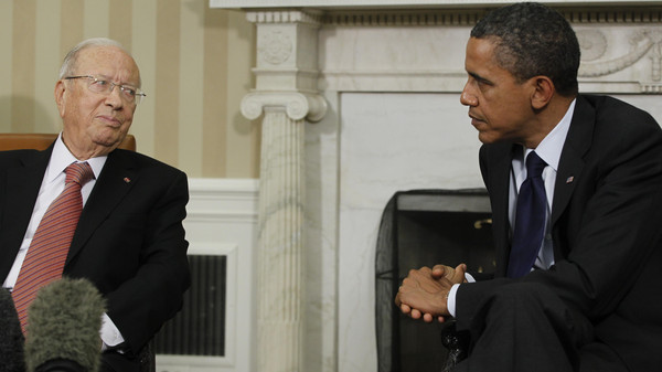 President Barack Obama meets with Prime Minister Beji Caid Essebsi of Tunisia in the Oval Office at the White House in Washington, Friday, Oct. 7, 2011.