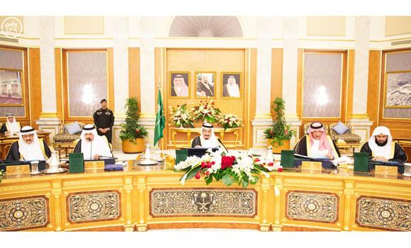 Custodian of the Two Holy Mosques King Salman (center) chairs a Cabinet meeting in Riyadh on Tuesday. (SPA)