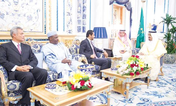Custodian of the Two Holy Mosques King Salman receives ambassadors of different countries at Al-Salam Palace in Jeddah on Sunday. (SPA)