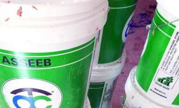 Some of the counterfeit paints seized from the illegal factory.