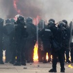 Fire breaks out at Kosovo government HQ as protests flare