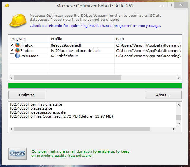 Mozbase Optimizer Build 262 Main Screen