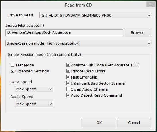 Read from CD Settings