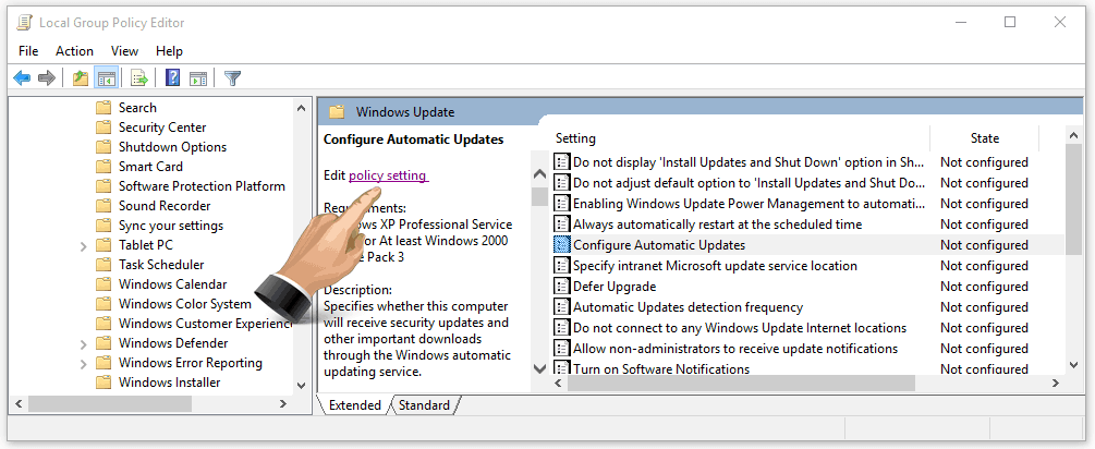 Configure Windows Updates Group Policy Editor