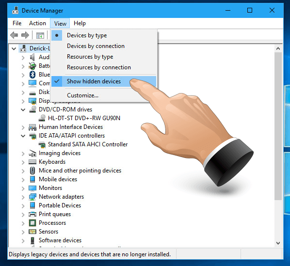 Device Manager - Show Hidden Devices