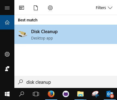 Search for the Disk Cleanup Utility