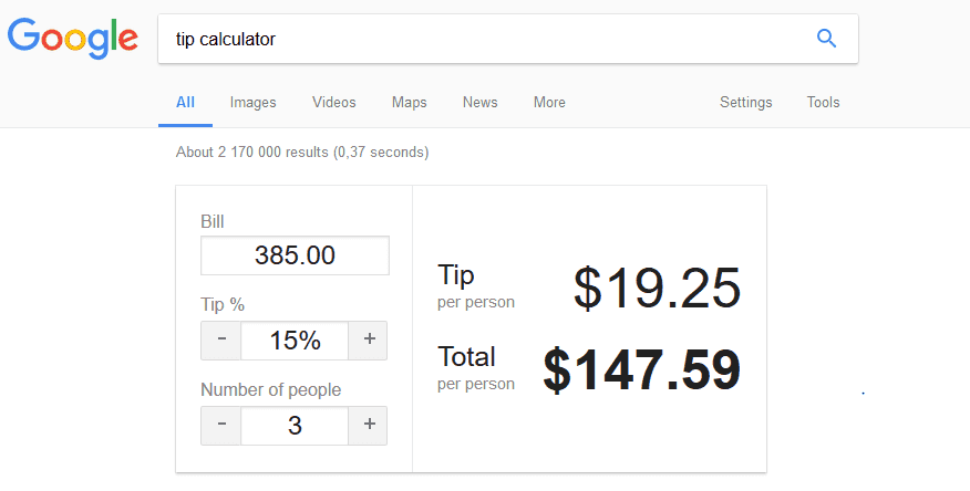 Google Tip Calculated