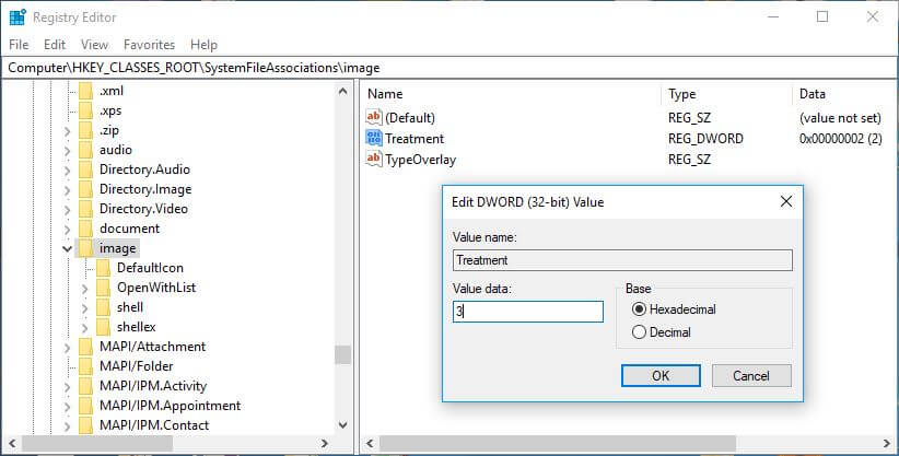 Registry Editor image Preview Border value