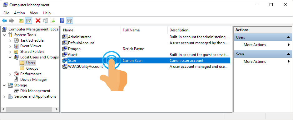 Manage Scan user account