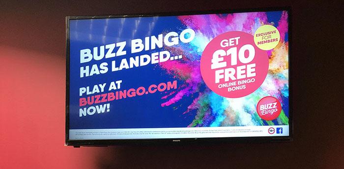 Buzz Bingo digital marketing screen