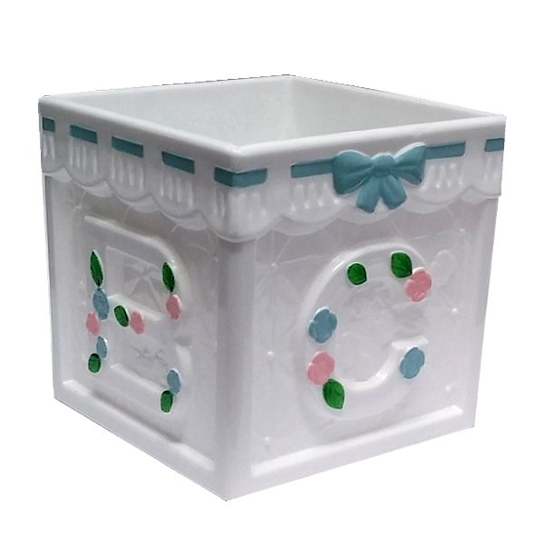 4 In Baby Block Plastic Containers Assorted Flower