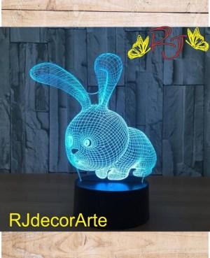 lampara led 3d conejo