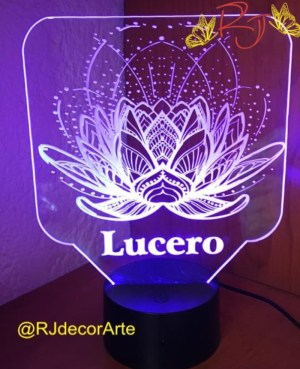 lampara personalizada flor loto