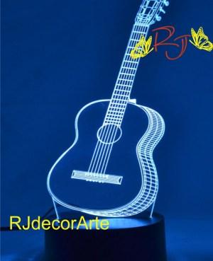 lampara led 3d guitarra