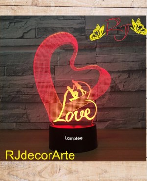 lampara led 3d corazon love