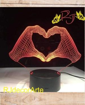 lampara led 3d manos corazon