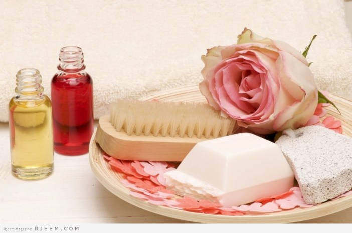 A bottle with aromatic oil and soap for relaxation and bathing