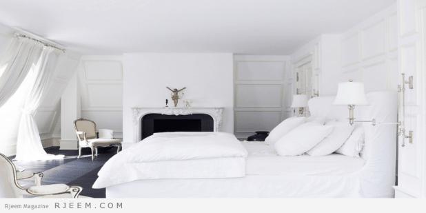 غرف نوم باللون الابيض مع الاسمر