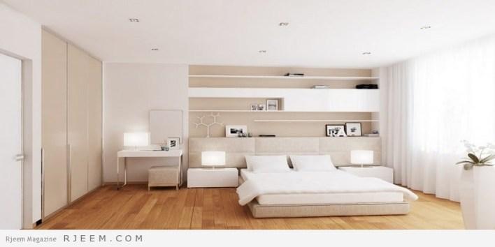 غرف نوم باللون الابيض ارضية خشب