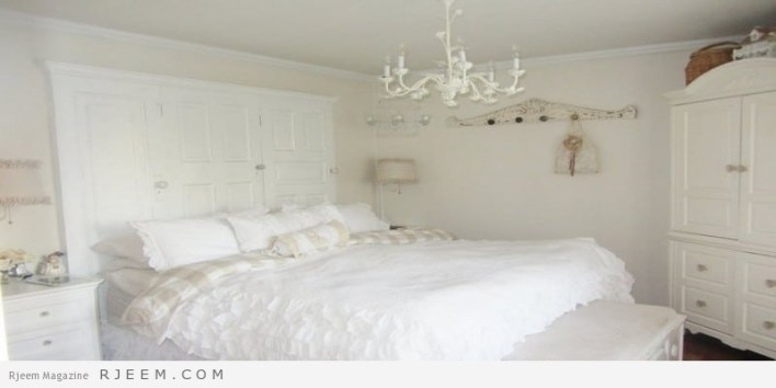 غرف نوم باللون الابيض للعرسان