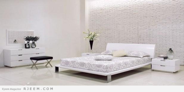 غرف نوم باللون الابيض مودرن