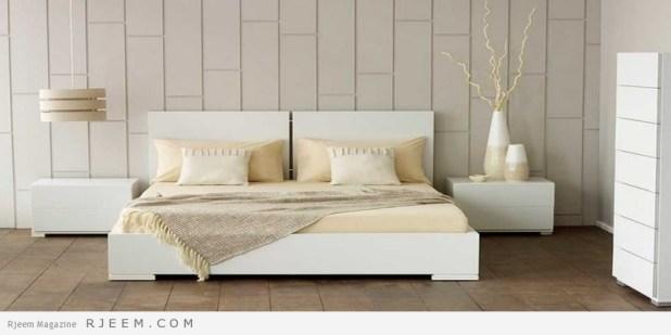 غرف نوم باللون الابيض ولون فراني
