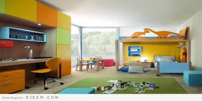 ديكورات غرف نوم اولاد الوان زاهية