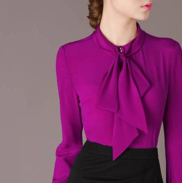 Free-Shipping-2015-Spring-Fall-Elegant-Bow-Collar-Long-Sleeve-Purple-Shirt-font-b-Blouse-b