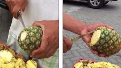 Photo of بالفيديو: لن تصدق مهارة هذا البائع في تقطيع الأناناس
