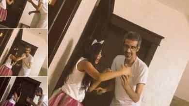 Photo of مشهد إنساني لأب يجاهد لالتقاط صورة لابنته رغم معاناته من ضعف شديد في البصر