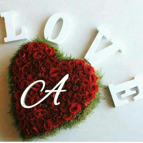 صورة حرف a في قلب مع كلمة حب