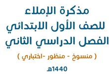 Photo of مذكرة الإملاء للصف الأول الابتدائي ١٤٤٠هـ-١٤٤١ تحميل مباشر