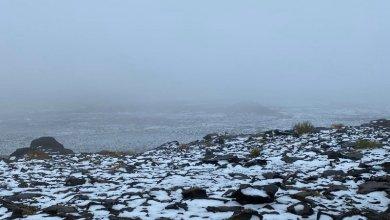 Photo of شاهد: الثلوج تغطي قمة جبال اللوز ومرتفعات تبوك