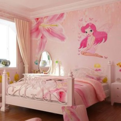 Angel girl butterfly vinyl wall stickers for kids rooms Beautiful girls home decor living room Cartoon