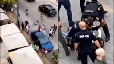 Photo of شاهد: الشرطة الأمريكية تعتقل امرأة بطريقة عنيفة بعدما خنقتها وسط الشارع