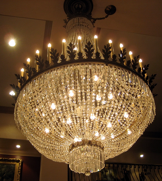 one of the chandeliers at Brassfield